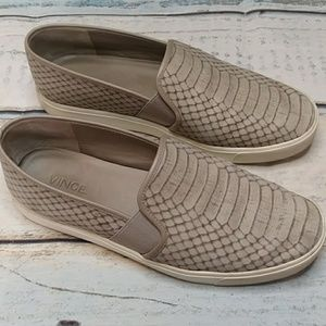 Vince Snake Skin Print Slip On Shoes